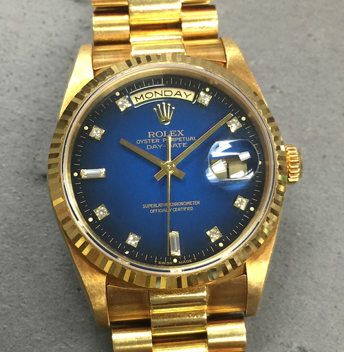 Rolex Mens 18k Yellow Gold Day Date President W Blue