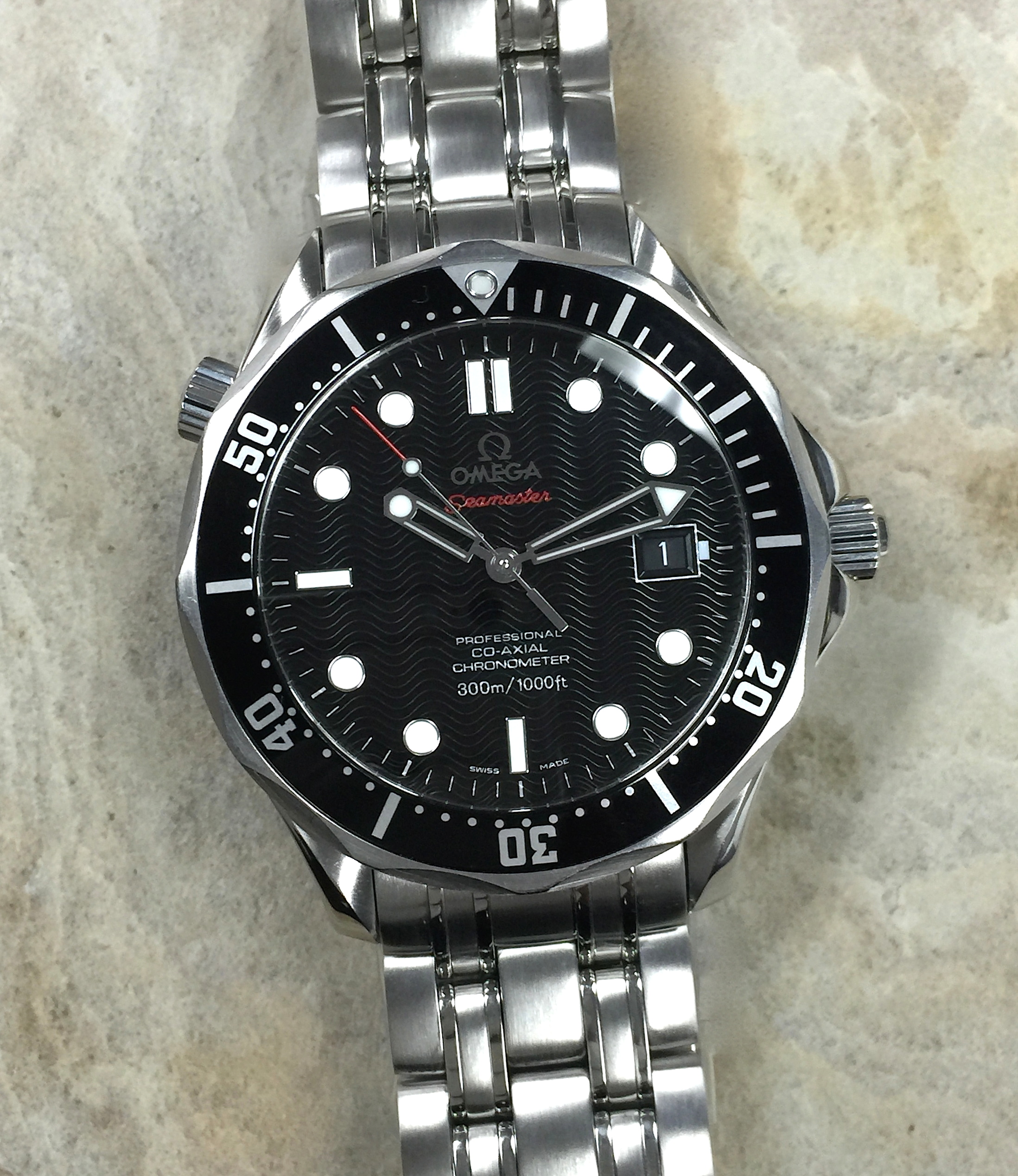 de3e7bf071a Omega Seamaster Pro Co-Axial Bond Black Wave 2500 Full 41MM 212.30 ...