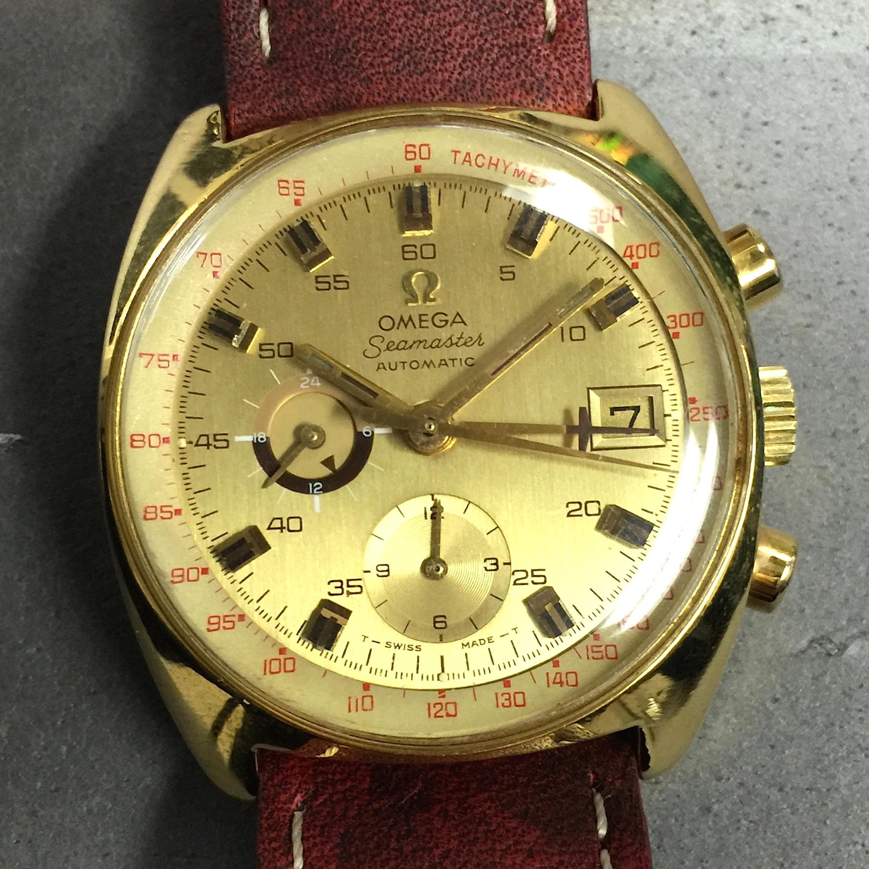 Vintage Omega Seamaster 14k Gf Ss Automatic Chronograph 176 007