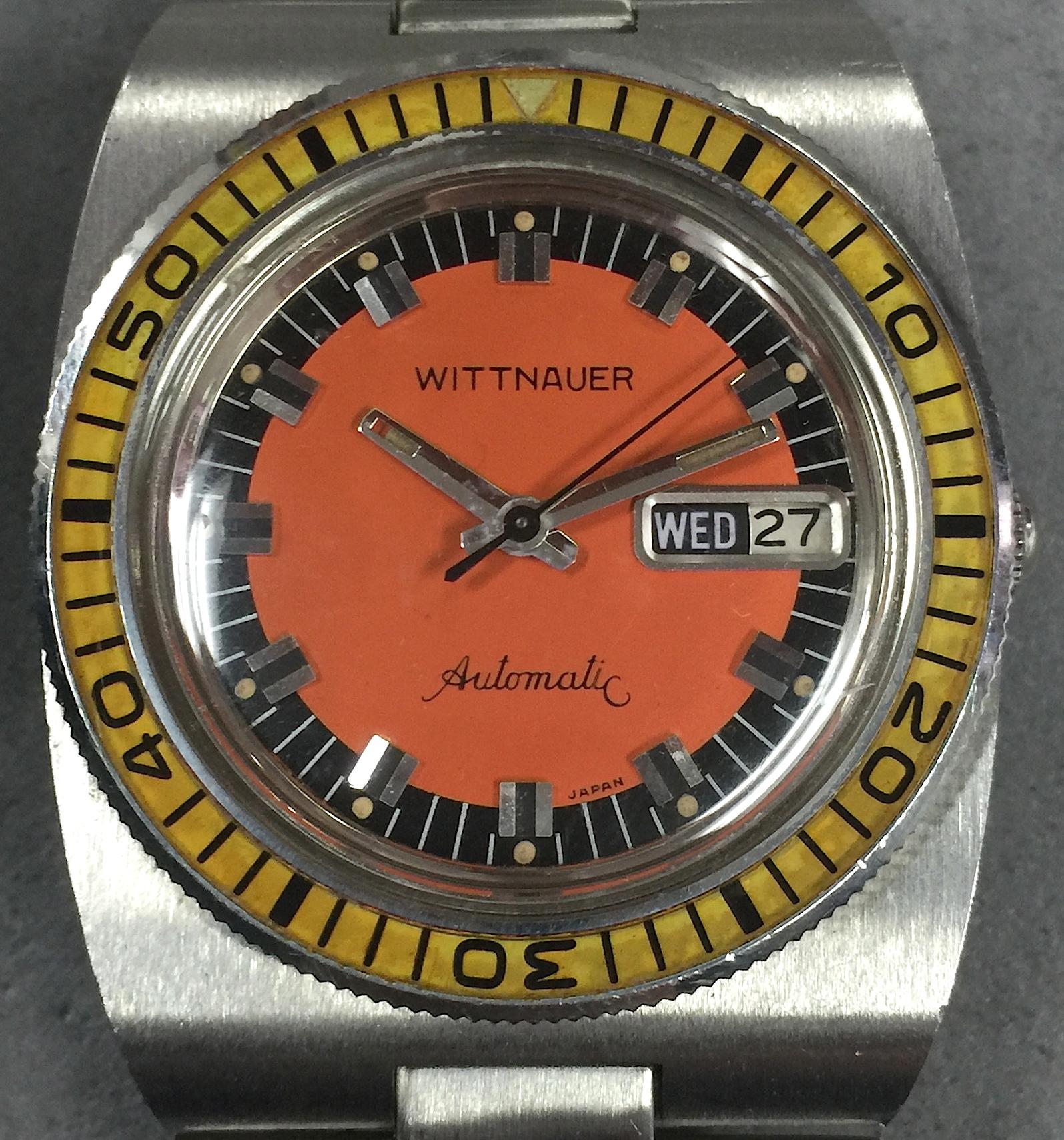 Vintage wittnauer divers watch w yellow bakelite bezel and orange dial rare - Orange dive watch ...