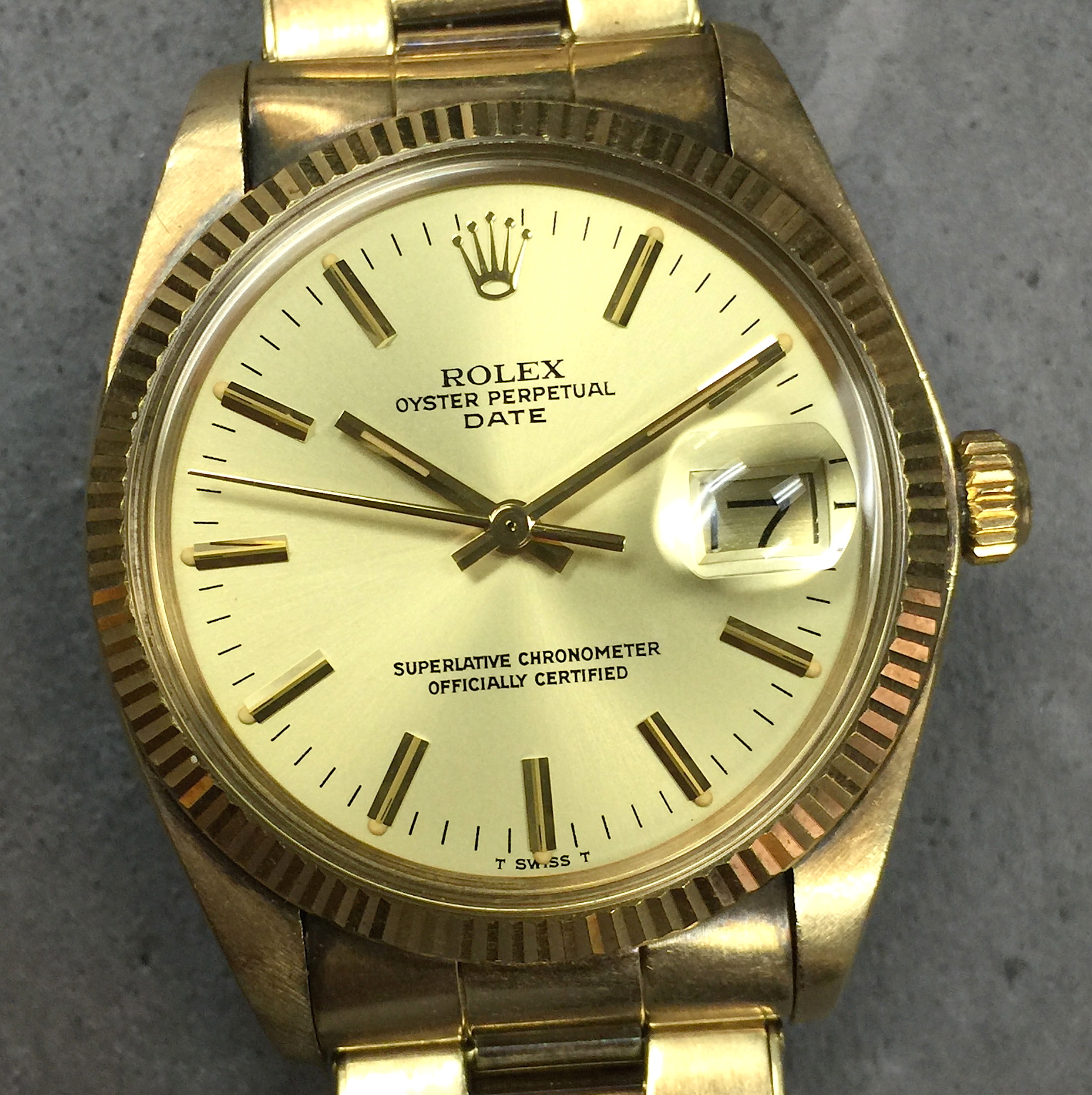 7db6563dd6bc Vintage Rolex Oyster Perpetual Date 34MM 14K Yellow Gold 1503 Unpolished