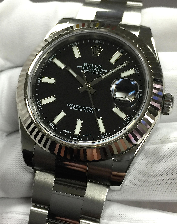 Rolex Datejust Ii 41mm 116334 Steel Black Index Dial 18k
