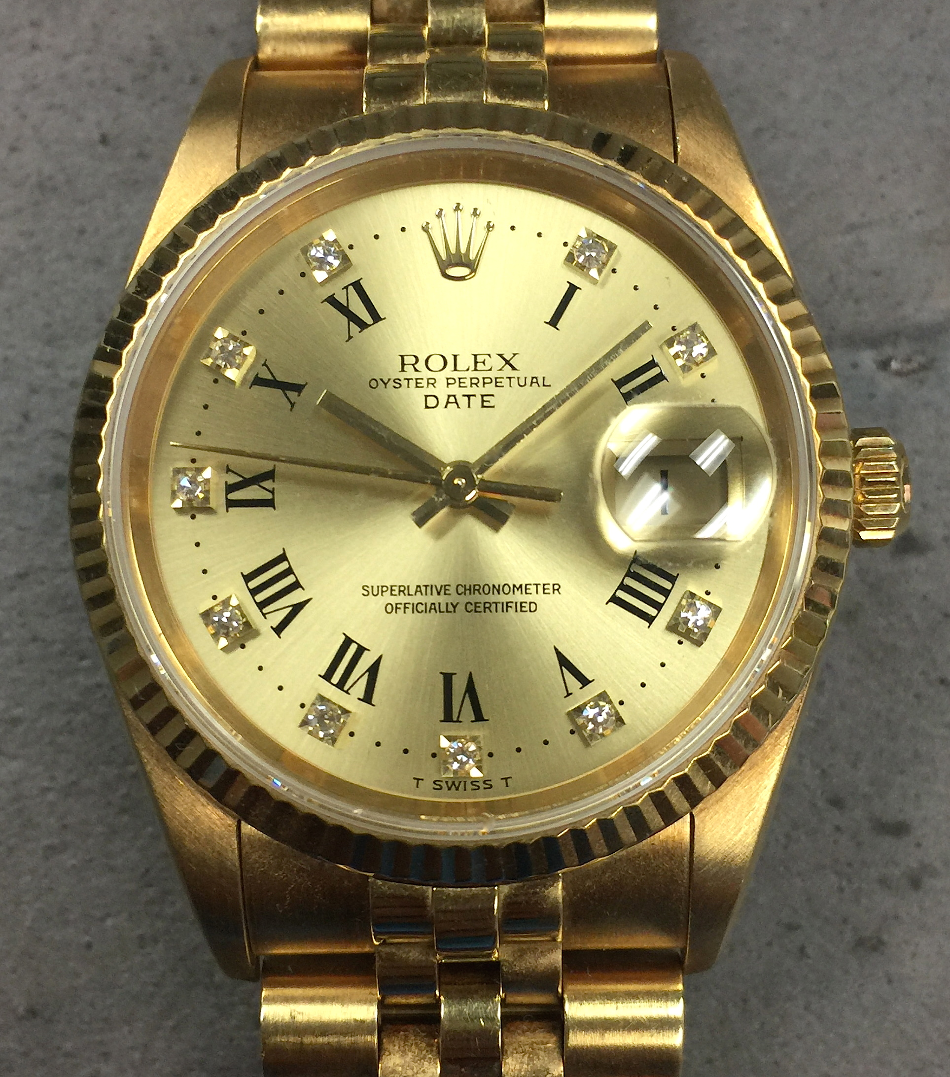 8003d1604f89 Rolex Oyster Perpetual Date 15238 18K Yellow Gold Factory Diamond Roman  Dial. IMG 0127