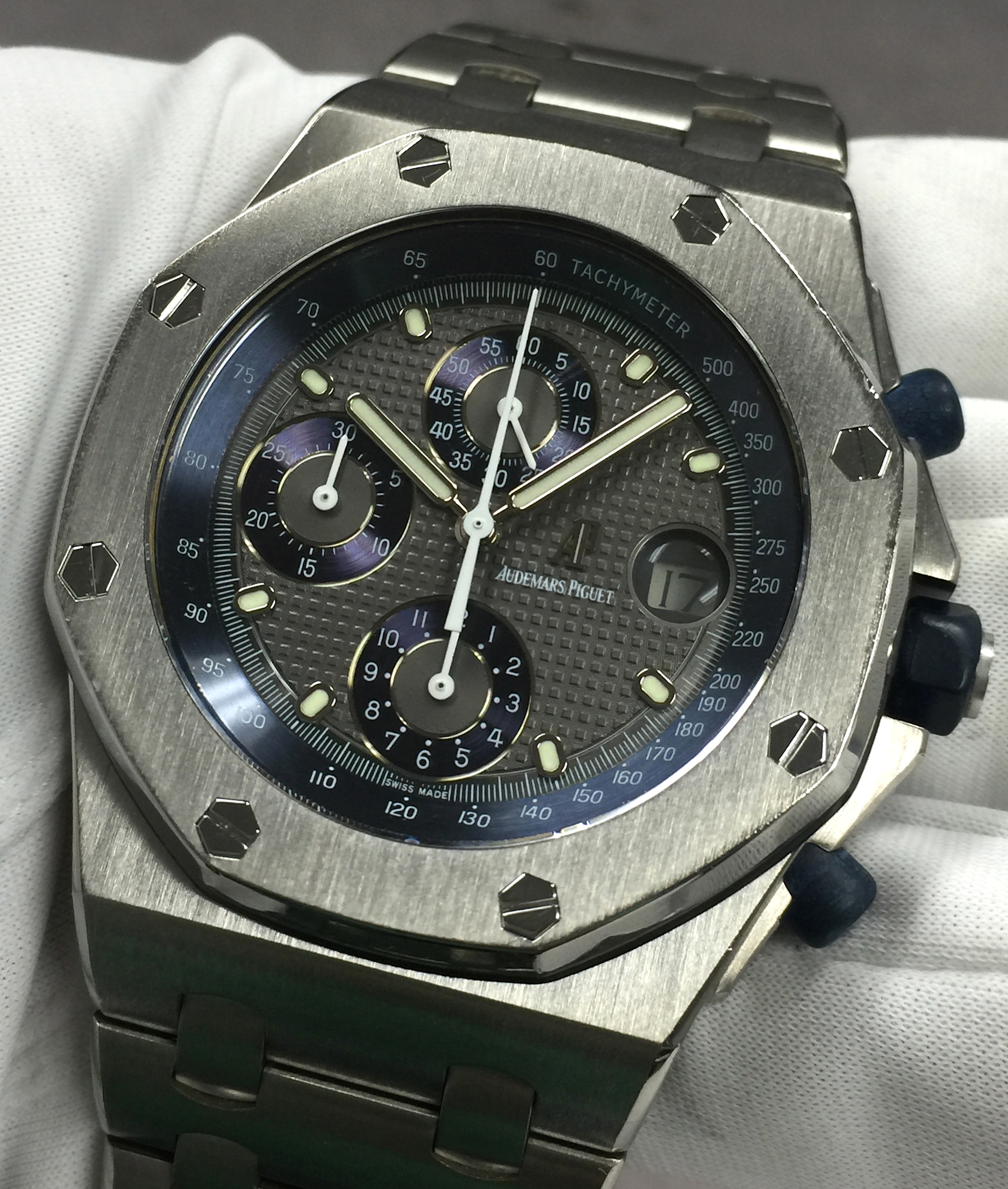 Ap audemars piguet royal oak offshore titanium chronograph charcoal blue waffle dial for Ap royal oak offshore chronograph