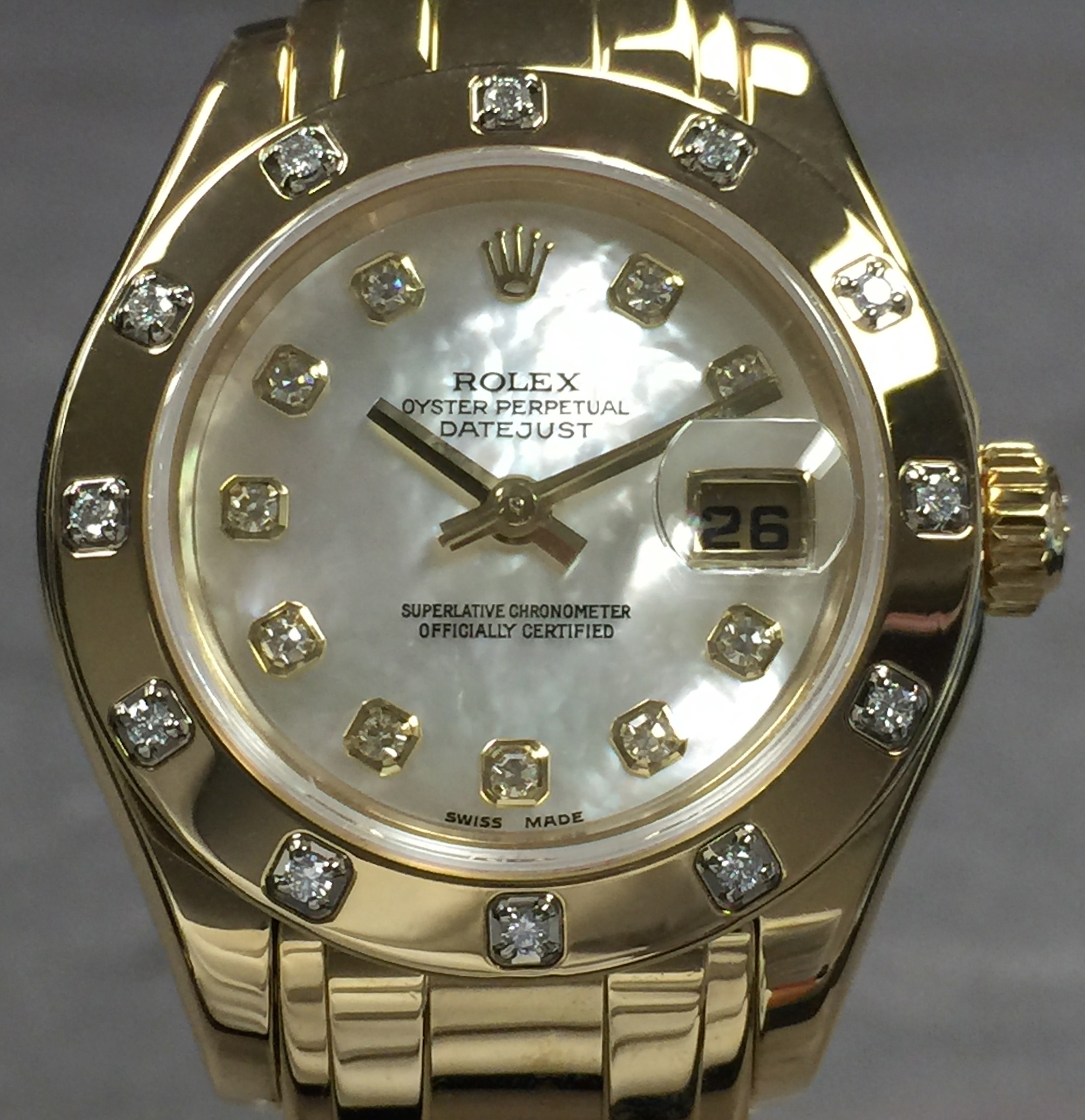 93be0dcab6a Rolex Ladies Datejust Pearlmaster 80318 18K Yellow Gold Factory Mother of  Pearl Diamond Dial & Bezel