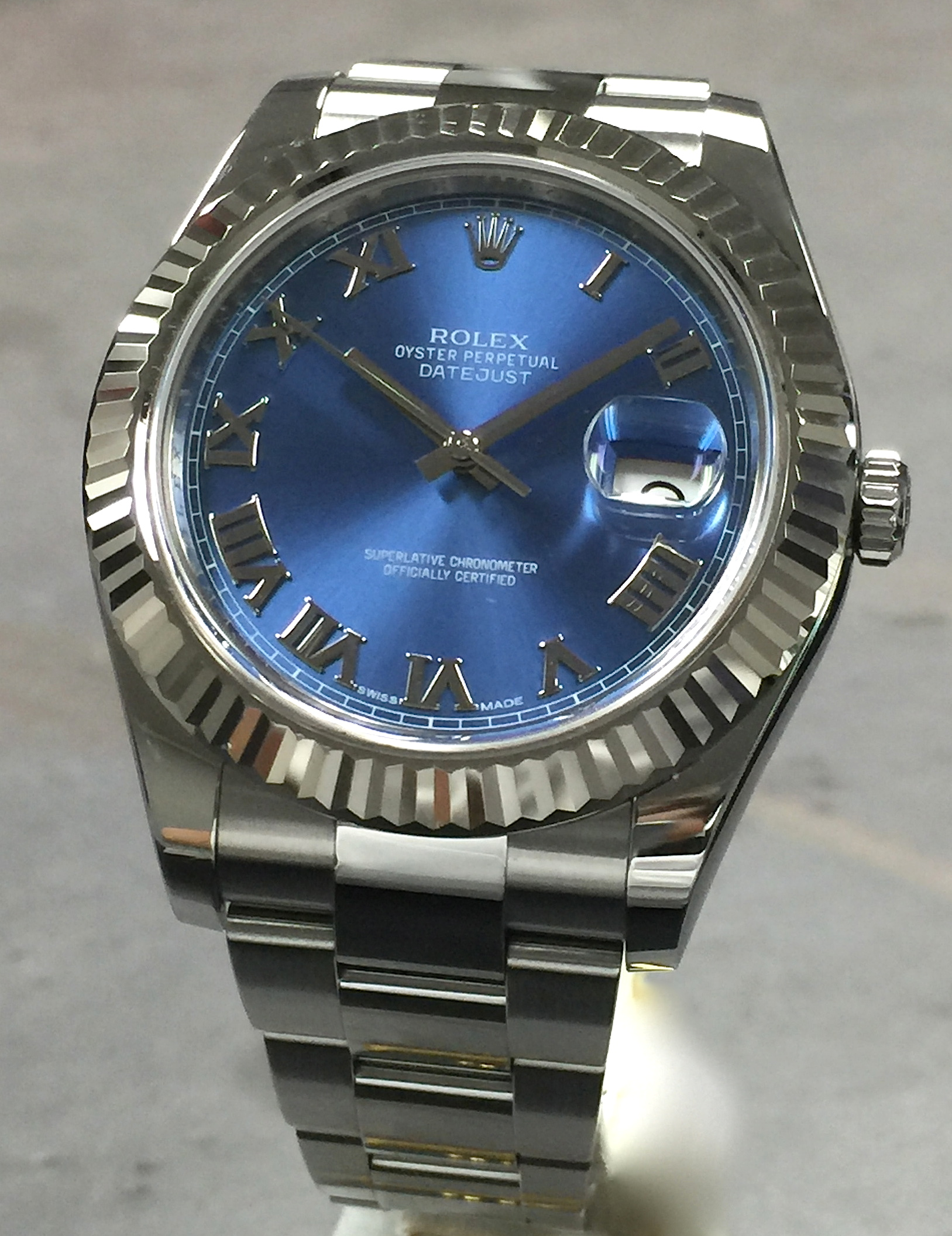 Rolex Datejust Ii 41mm 116334 Steel Blue Roman Dial 18k