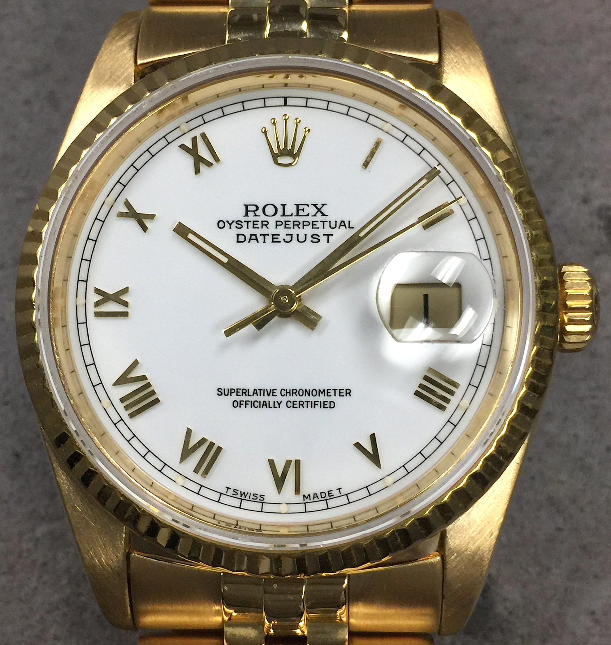 ab614576fa72 Rolex Datejust 36MM 18K Yellow Gold 16238 White Roman Dial Jubilee Bracelet