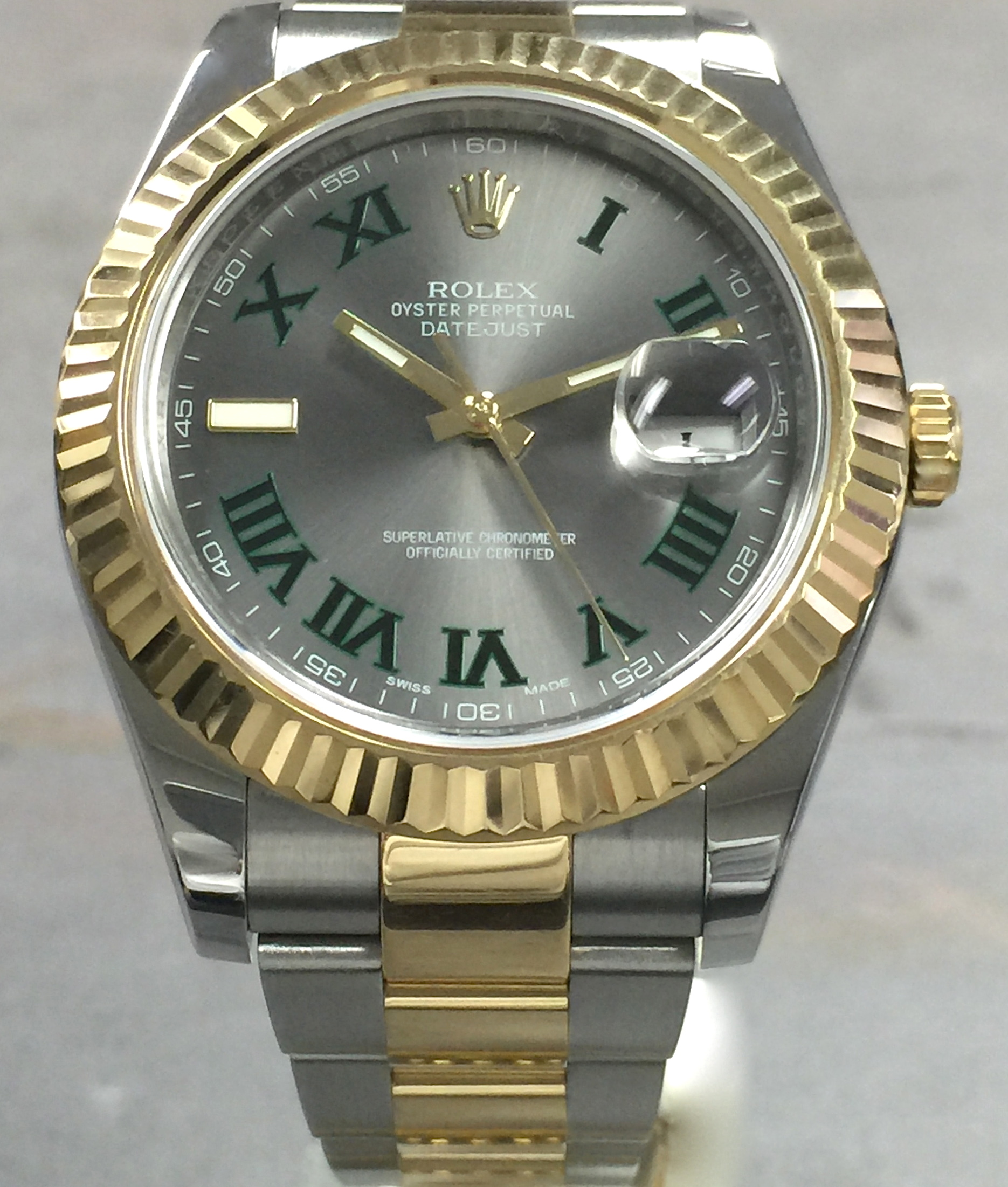 Rolex Datejust Ii 41mm 116333 18k Yg Steel Slate Green