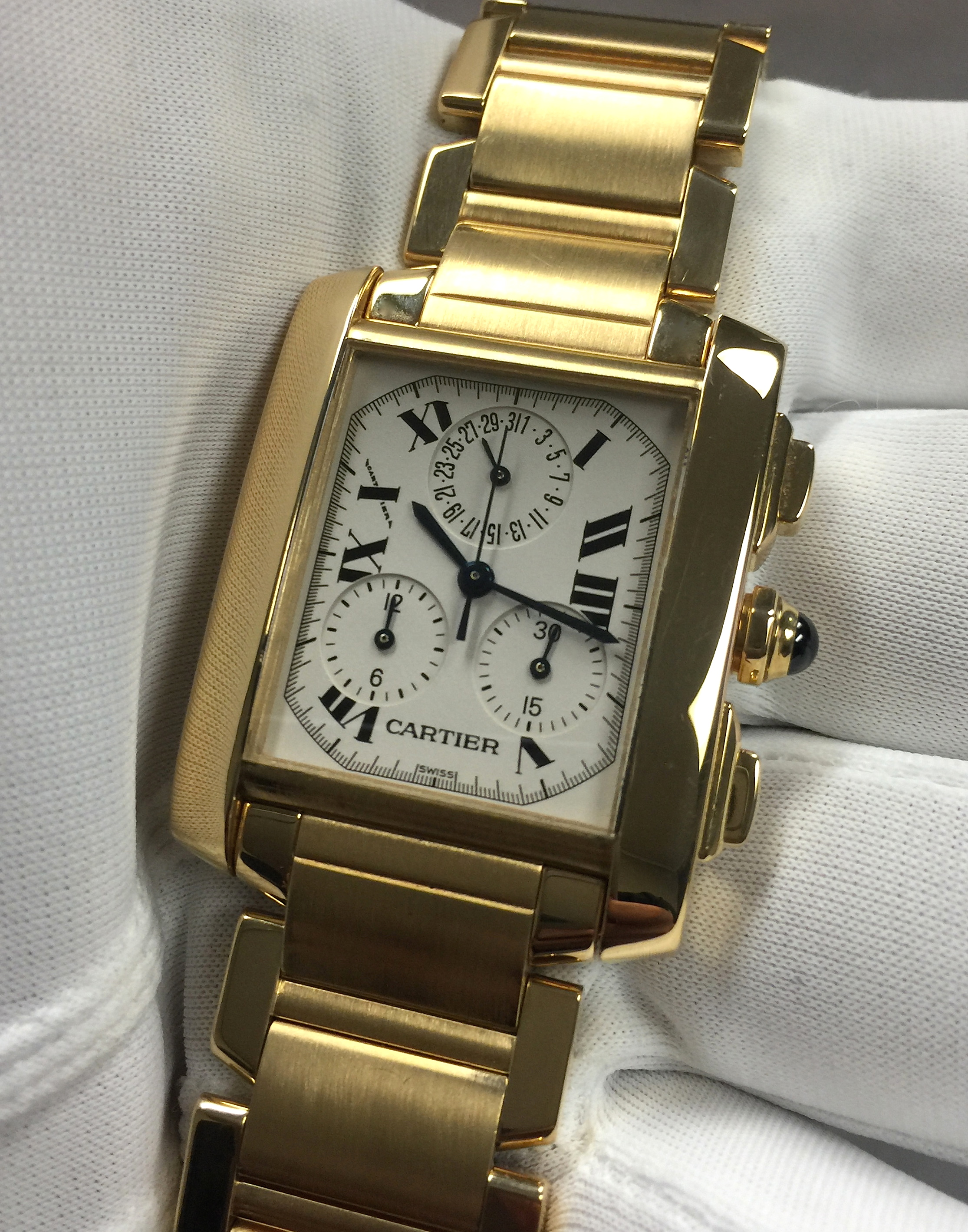 Cartier Tank Francaise Chronograph 1830 18k Yellow Gold