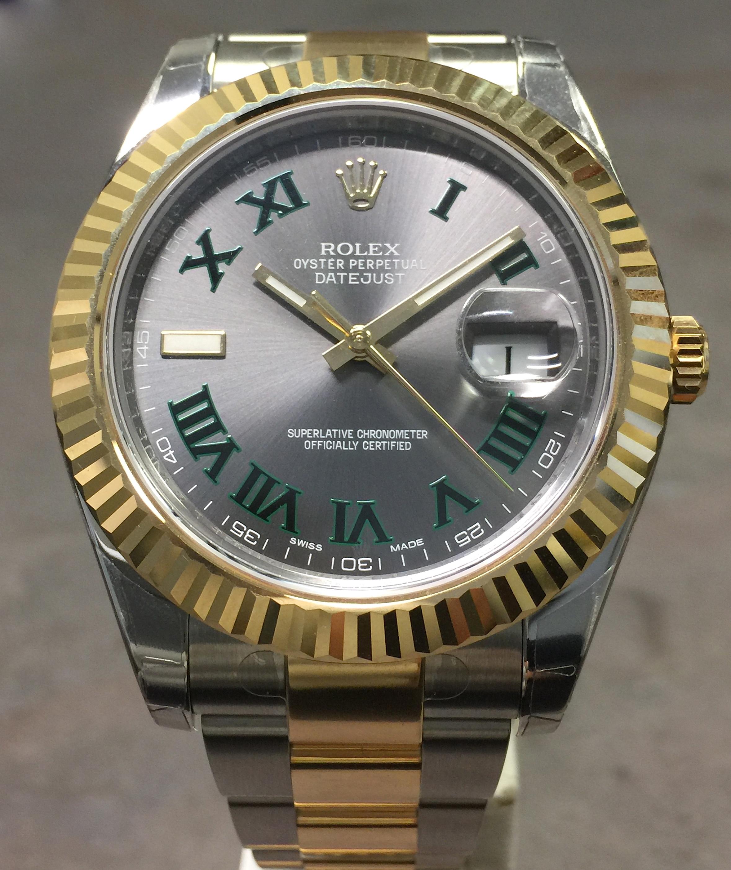 Rolex Datejust Ii 41mm 116333 18k Yg Steel Slate Green