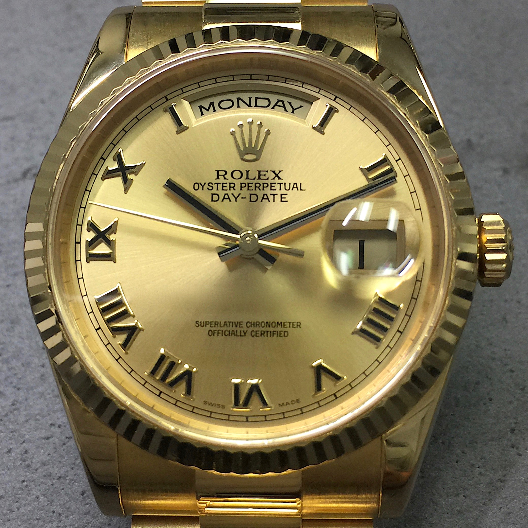 d87a7dfb0ae Rolex Day-Date President 36MM 118238 18K Yellow Gold Champagne Roman Dial  w/ Papers