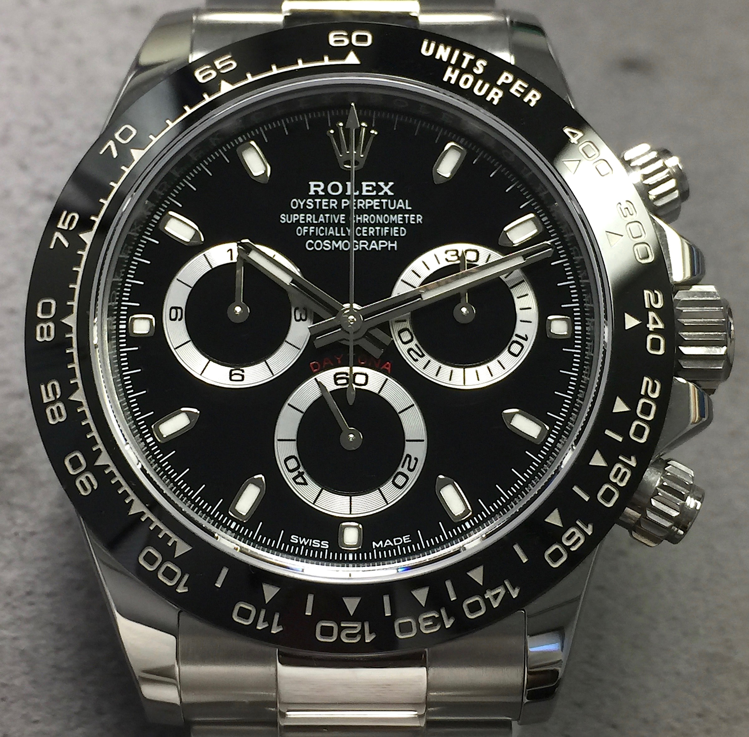 Rolex ceramic daytona cosmograph 116500 steel black dial oyster bracelet w card for Rolex cosmograph daytona