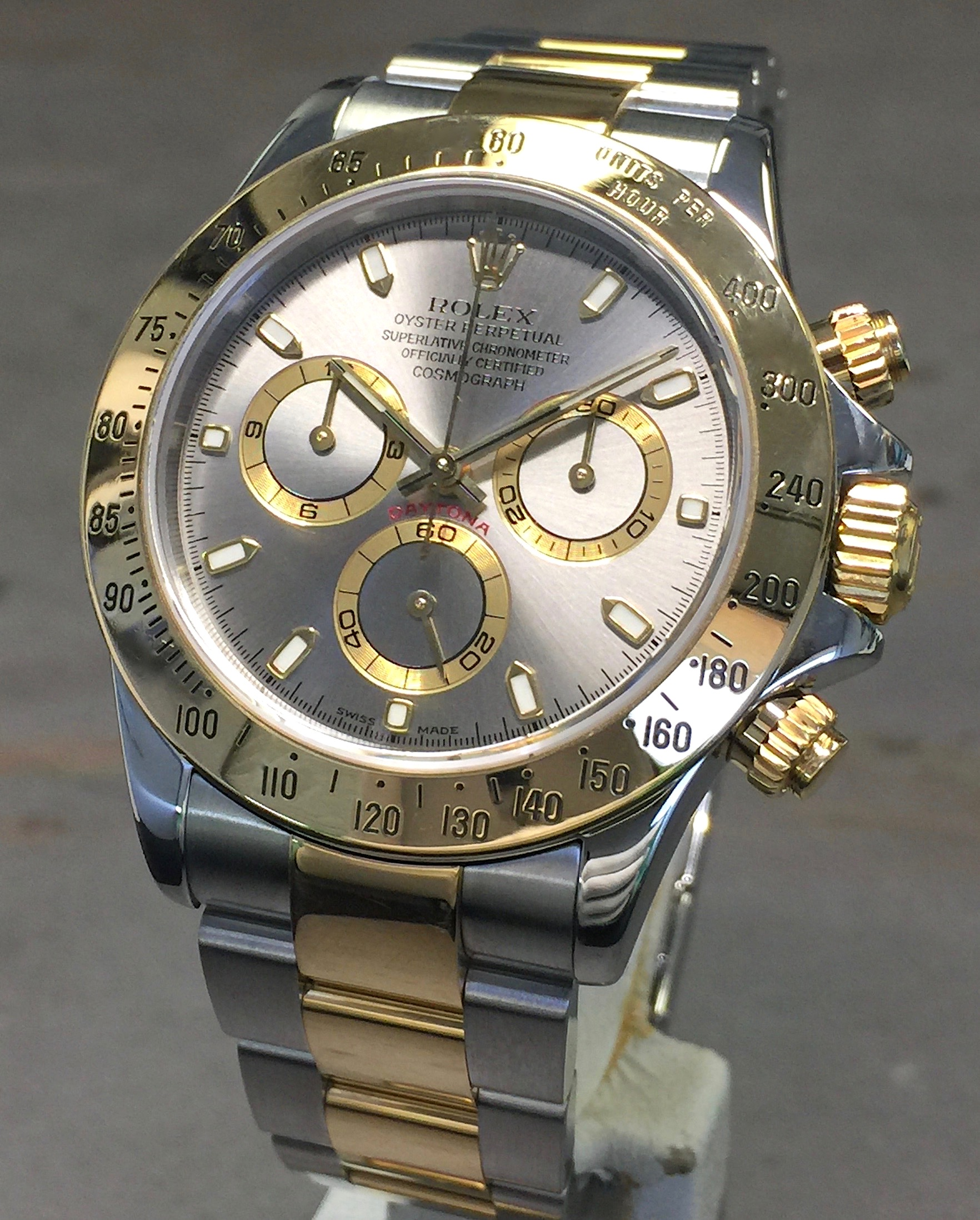Rolex daytona cosmograph 40mm 116523 18k yellow gold steel slate dial w papers for Rolex cosmograph daytona