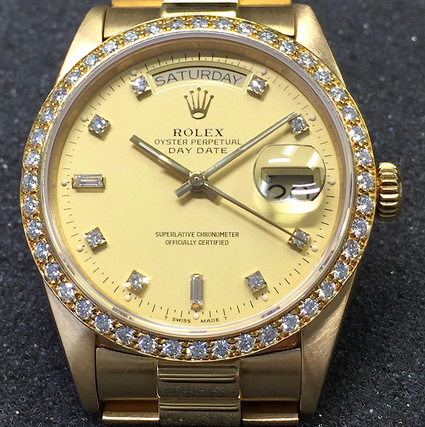 watches dial yellow bezel date gold diamond watch youtube president mens rolex pave presidential day