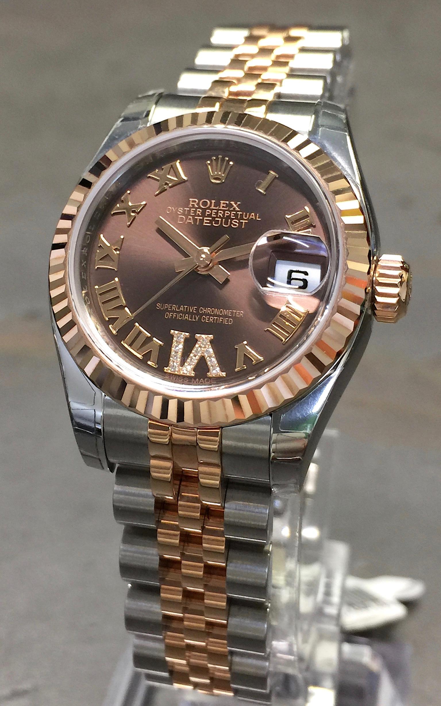 New 2017 Rolex Datejust 26mm 179171 18k Rose Gold Steel