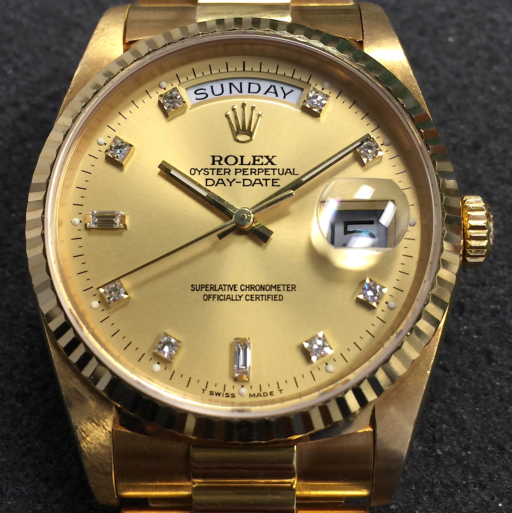 Vintage Rolex Day Date President 36mm 18238 18k Yellow Gold