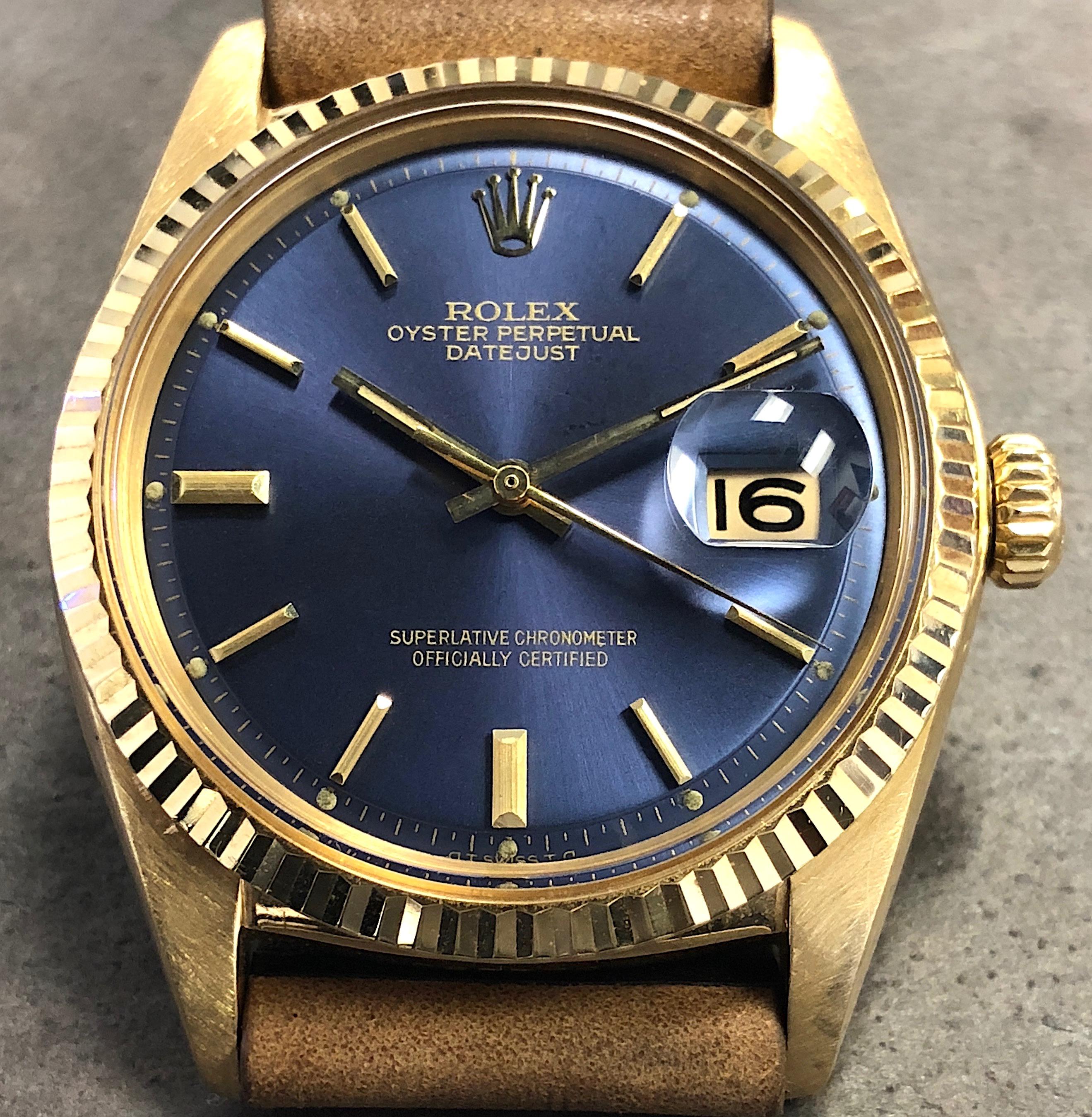 Vintage Rolex Datejust Mens 1601 36MM 18K Yellow Gold Blue ...