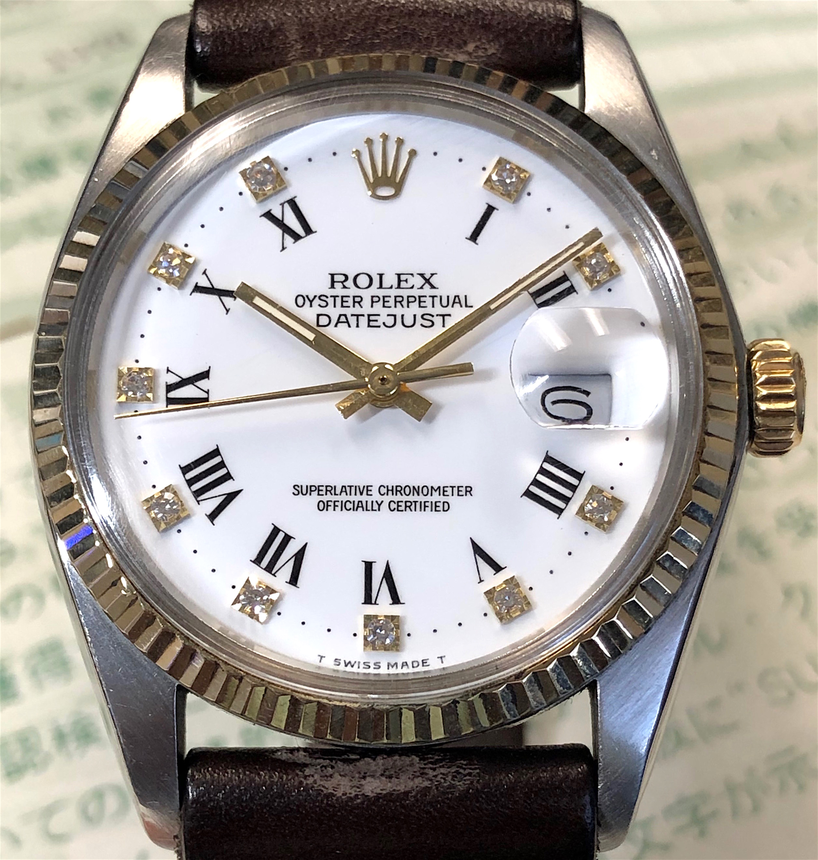 81c17c0fbaf Vintage Rolex Datejust Mens 16013 36MM 18K Yellow Gold/ Steel White Roman  Diamond Dial w/ Papers
