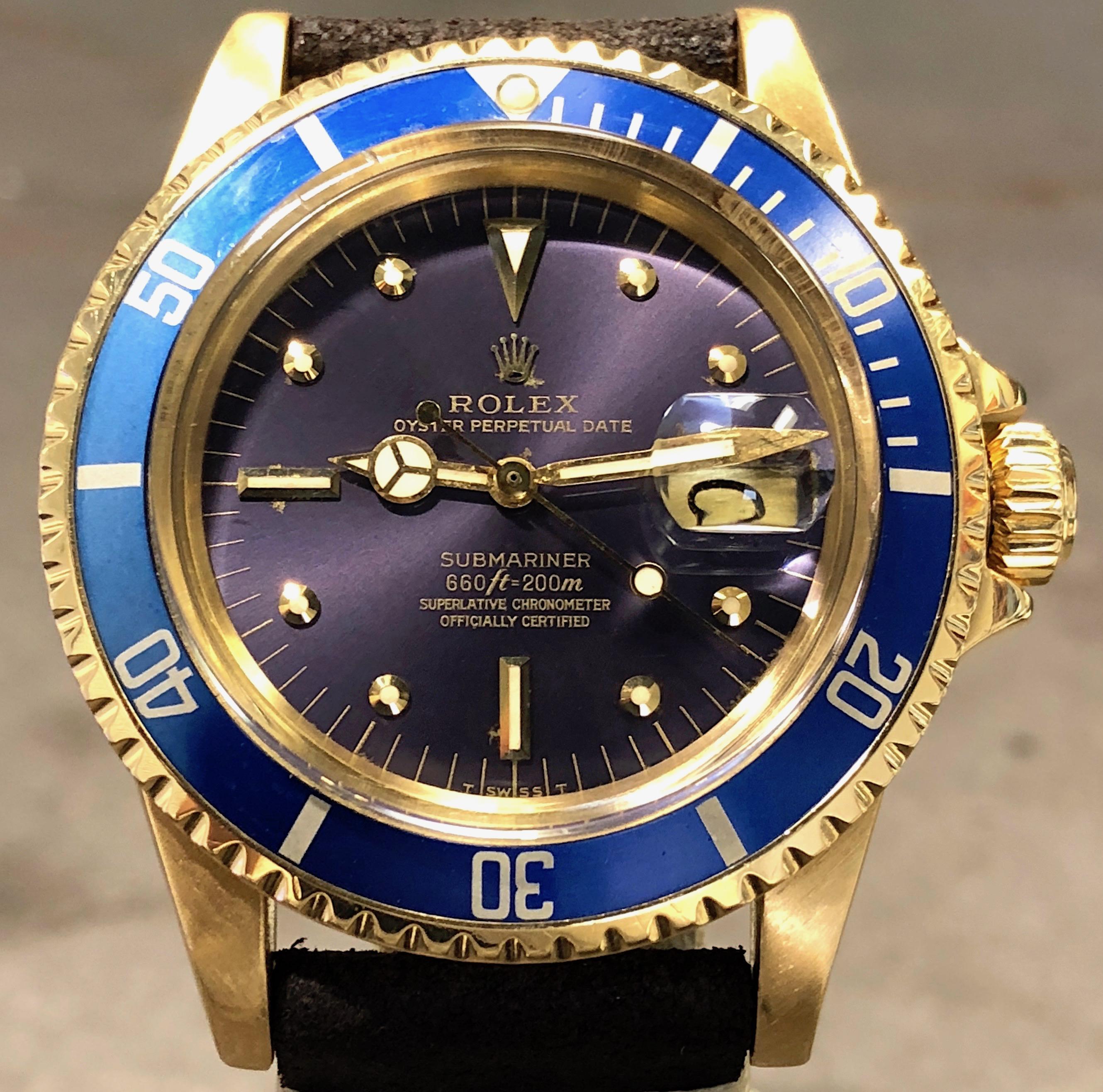 Vintage Rolex Submariner Date 40MM 1680 18K Yellow Gold
