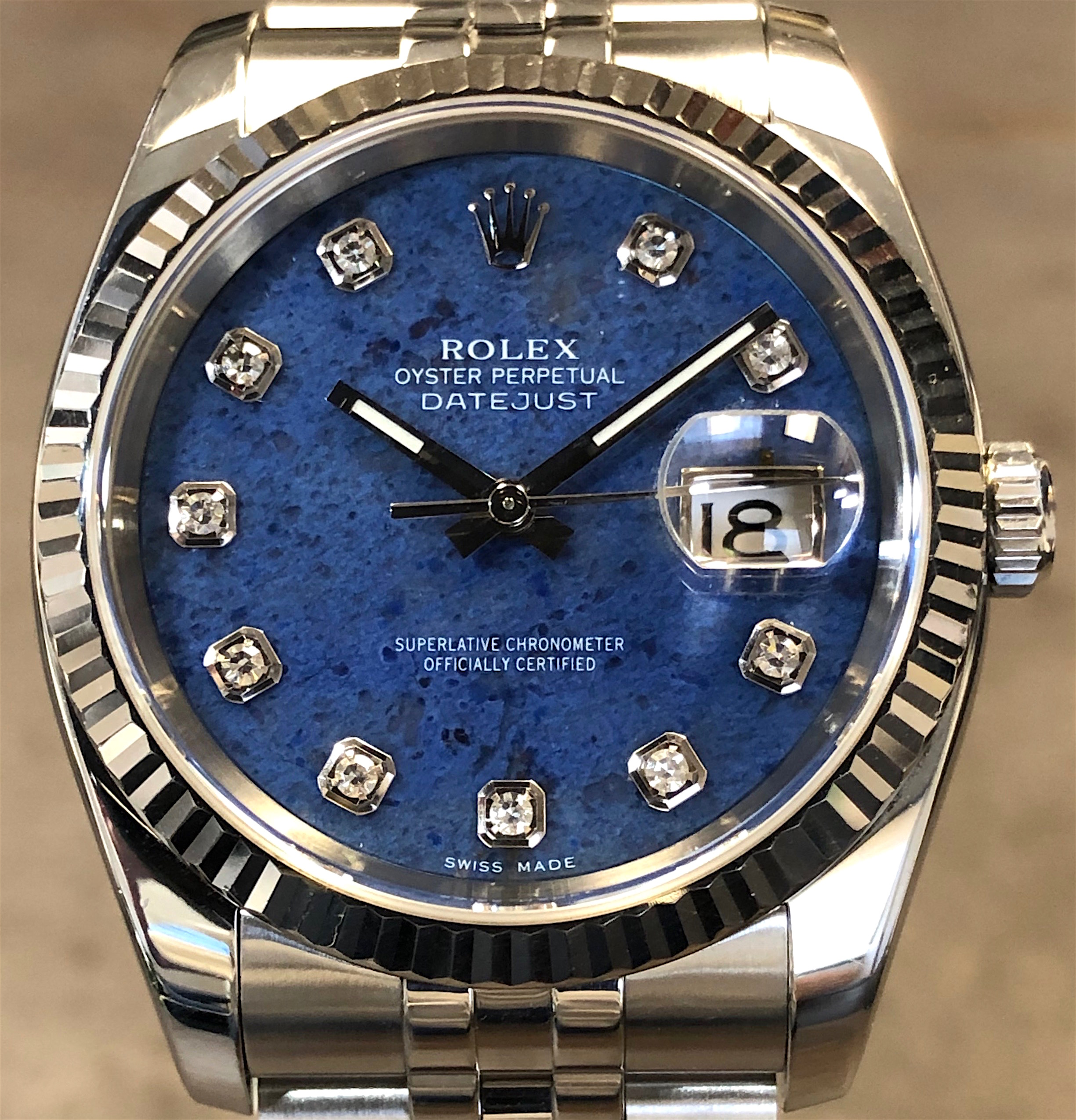 303aff39dea Rolex Datejust 36MM 116234 18K White Gold/Steel Factory Sodalite Diamond  Dial w/ Papers