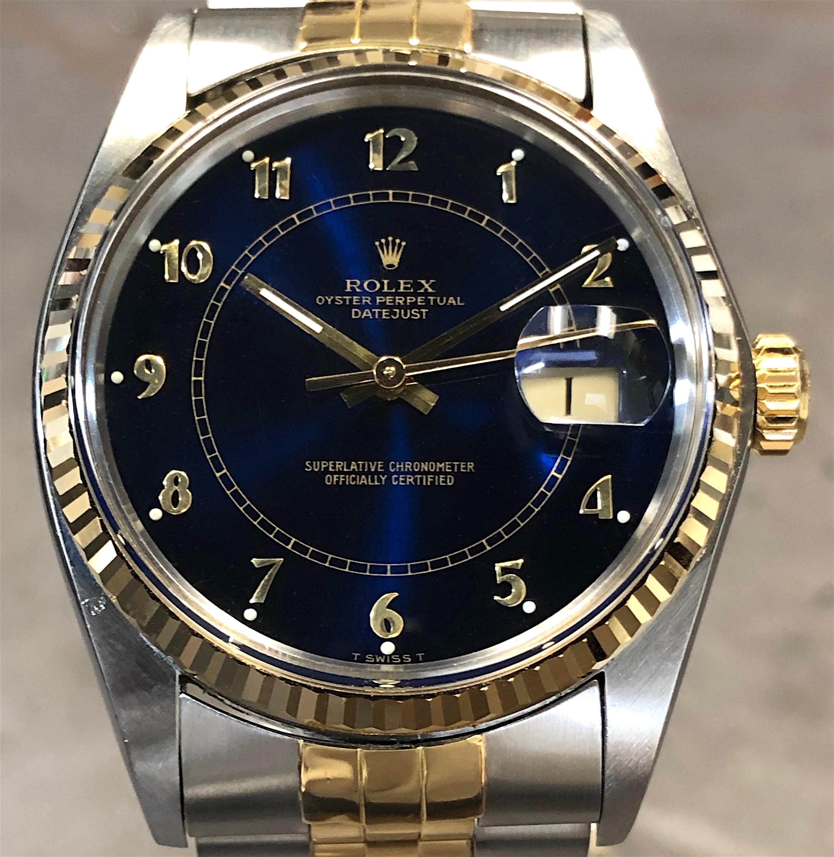 Vintage Rolex Datejust Mens 16013 36MM 18K Yellow Gold